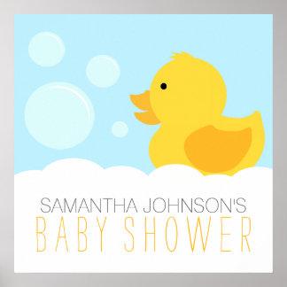 Fiesta de bienvenida al bebé Ducky de goma Póster