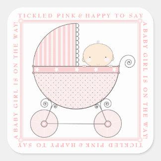 Fiesta de bienvenida al bebé dulce del carro de la pegatina cuadrada
