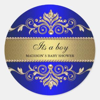 Fiesta de bienvenida al bebé elegante azul del pegatina redonda