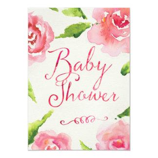 Fiesta de bienvenida al bebé elegante de los rosas invitación 12,7 x 17,8 cm