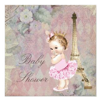 """Fiesta de bienvenida al bebé elegante de princesa invitación 5.25"""" x 5.25"""""""
