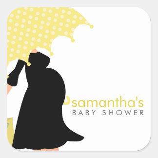 Fiesta de bienvenida al bebé embarazada de la mamá pegatina cuadrada