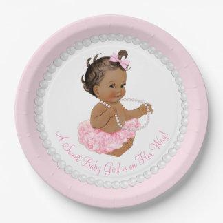 Fiesta de bienvenida al bebé étnica de la perla plato de papel de 9 pulgadas