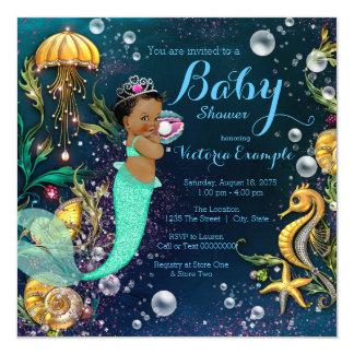 """Fiesta de bienvenida al bebé étnica de la sirena invitación 5.25"""" x 5.25"""""""