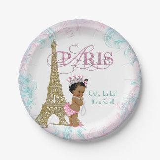 Fiesta de bienvenida al bebé étnica de París Plato De Papel De 7 Pulgadas