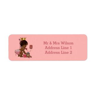 Fiesta de bienvenida al bebé étnica de princesa etiqueta de remite