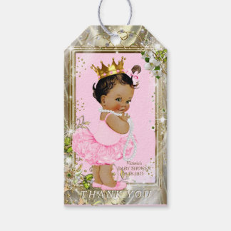 Fiesta de bienvenida al bebé étnica de princesa etiquetas para regalos
