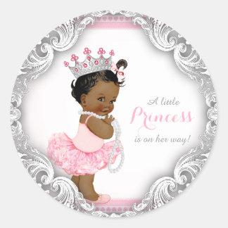 Fiesta de bienvenida al bebé étnica de princesa pegatina redonda