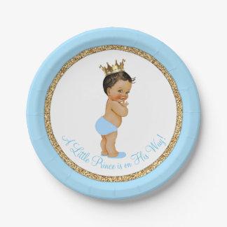 Fiesta de bienvenida al bebé étnica del oro del platos de papel