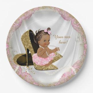 Fiesta de bienvenida al bebé étnica del tacón alto plato de papel de 9 pulgadas