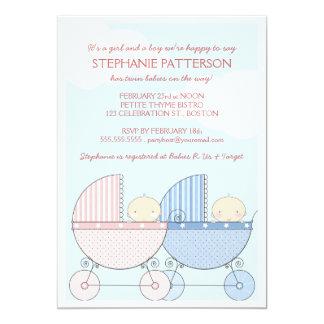 """Fiesta de bienvenida al bebé feliz gemela del invitación 5"""" x 7"""""""