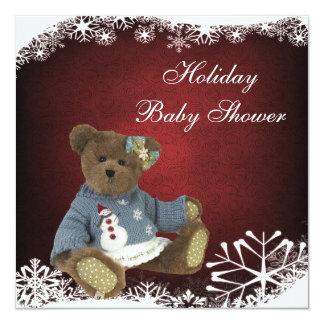 """Fiesta de bienvenida al bebé festiva linda del oso invitación 5.25"""" x 5.25"""""""