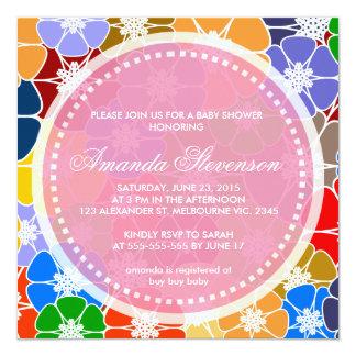 """Fiesta de bienvenida al bebé floral abstracta de invitación 5.25"""" x 5.25"""""""