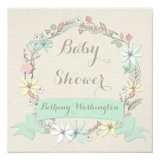 """Fiesta de bienvenida al bebé floral con clase de invitación 5.25"""" x 5.25"""""""