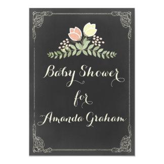 Fiesta de bienvenida al bebé floral de la pizarra invitación 12,7 x 17,8 cm