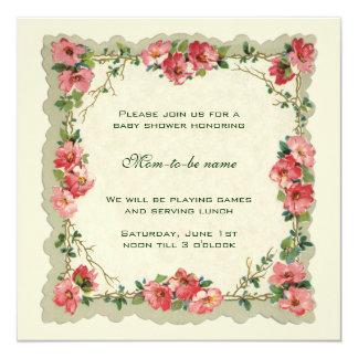 """Fiesta de bienvenida al bebé floral de las flores invitación 5.25"""" x 5.25"""""""