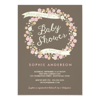 Fiesta de bienvenida al bebé floral del chica de comunicado personal