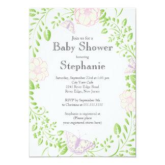Fiesta de bienvenida al bebé floral del chica de anuncio personalizado
