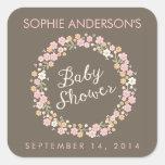 Fiesta de bienvenida al bebé floral del chica de l pegatina cuadradas personalizadas