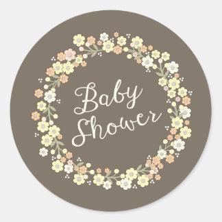 Fiesta de bienvenida al bebé floral del neutral de pegatinas redondas