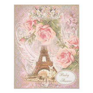 """Fiesta de bienvenida al bebé floral del rosa invitación 4.25"""" x 5.5"""""""
