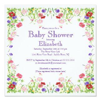 Fiesta de bienvenida al bebé floral del Wildflower Comunicado Personalizado