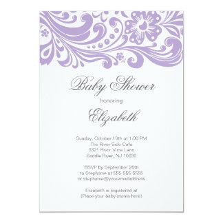 Fiesta de bienvenida al bebé floral púrpura suave invitación 12,7 x 17,8 cm