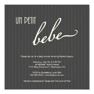 """Fiesta de bienvenida al bebé francesa elegante invitación 5.25"""" x 5.25"""""""