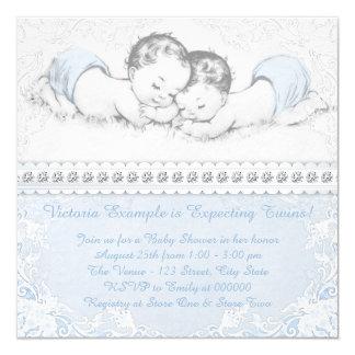 Fiesta de bienvenida al bebé gemela azul elegante