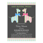 Fiesta de bienvenida al bebé gemela de la jirafa d invitación personalizada