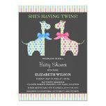 Fiesta de bienvenida al bebé gemela de la jirafa invitación personalizada