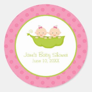 Fiesta de bienvenida al bebé gemela de los chicas, pegatina redonda
