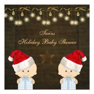 Fiesta de bienvenida al bebé gemela del navidad de comunicado personal
