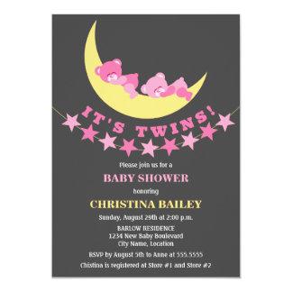 Fiesta de bienvenida al bebé gemela del oso de invitación 12,7 x 17,8 cm