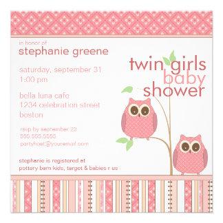 Fiesta de bienvenida al bebé gemela del rosa del b invitaciones personalizada