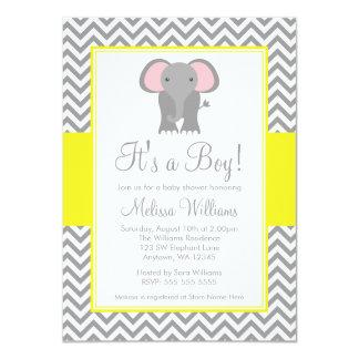 Fiesta de bienvenida al bebé gris amarilla de invitación 11,4 x 15,8 cm