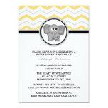 Fiesta de bienvenida al bebé gris amarilla de comunicados personalizados
