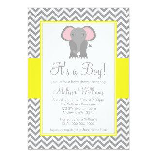 """Fiesta de bienvenida al bebé gris amarilla de invitación 5"""" x 7"""""""
