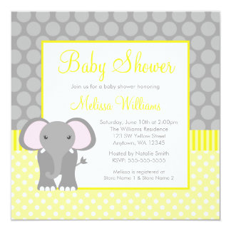 Fiesta de bienvenida al bebé gris amarilla del invitación 13,3 cm x 13,3cm