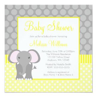 """Fiesta de bienvenida al bebé gris amarilla del invitación 5.25"""" x 5.25"""""""