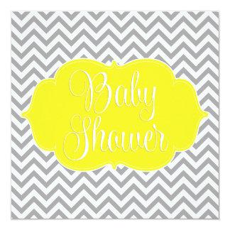 """Fiesta de bienvenida al bebé gris amarilla moderna invitación 5.25"""" x 5.25"""""""