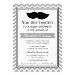 Fiesta de bienvenida al bebé gris de Chevron del b Invitación Personalizada