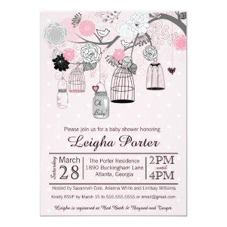 Fiesta de bienvenida al bebé gris negra rosada del invitación 12,7 x 17,8 cm