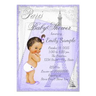"""Fiesta de bienvenida al bebé gris púrpura de París Invitación 4.5"""" X 6.25"""""""