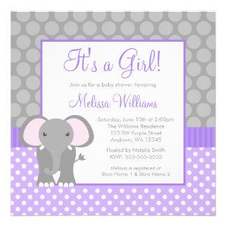 Fiesta de bienvenida al bebé gris púrpura del chic invitacion personal