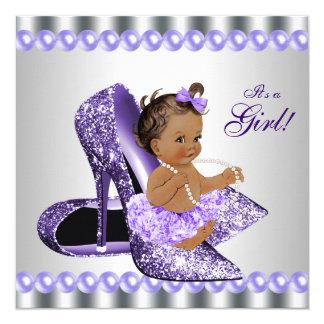 """Fiesta de bienvenida al bebé gris púrpura del invitación 5.25"""" x 5.25"""""""