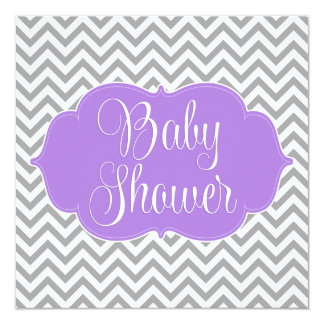 """Fiesta de bienvenida al bebé gris púrpura moderna invitación 5.25"""" x 5.25"""""""