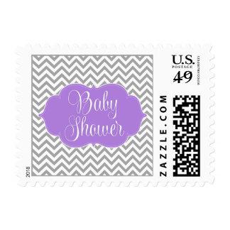 Fiesta de bienvenida al bebé gris púrpura moderna sellos