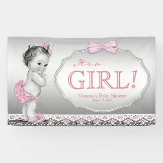 Fiesta de bienvenida al bebé gris rosada de la lona