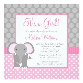"""Fiesta de bienvenida al bebé gris rosada del chica invitación 5.25"""" x 5.25"""""""